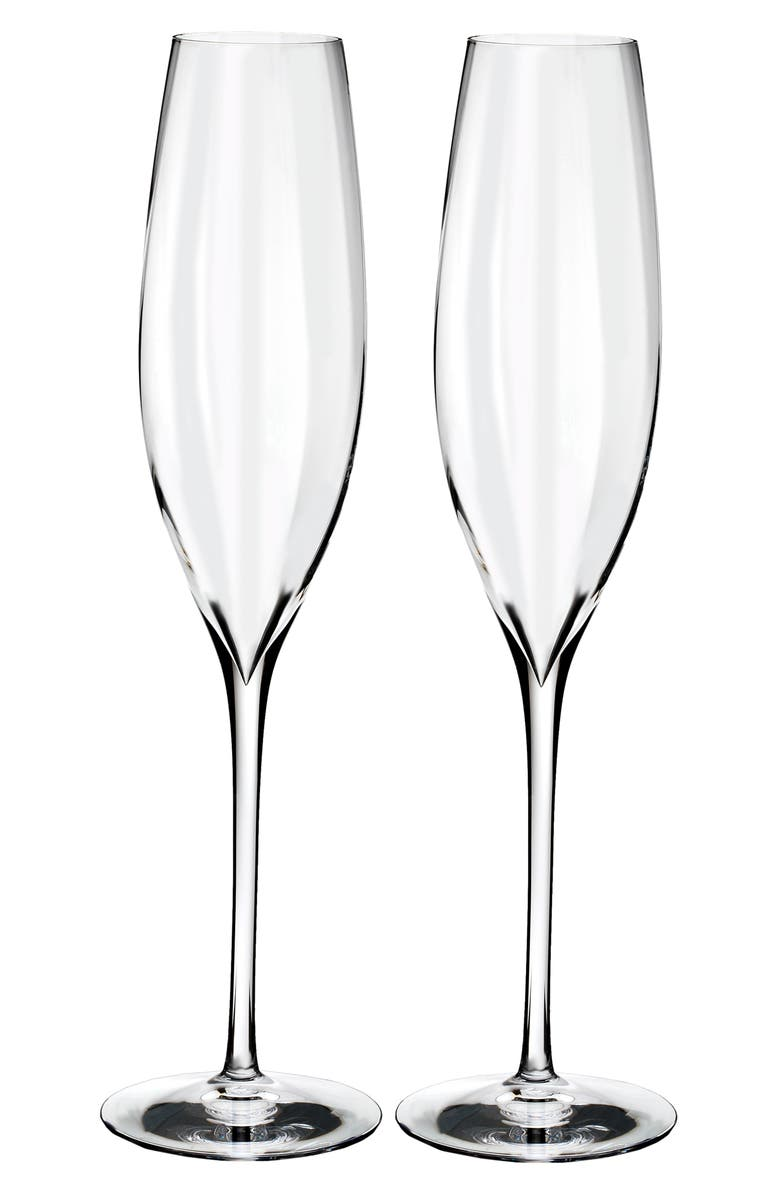 WATERFORD Elegance Optic Classic Set of 2 Lead Crystal Champagne Flutes, Main, color, CRYSTAL