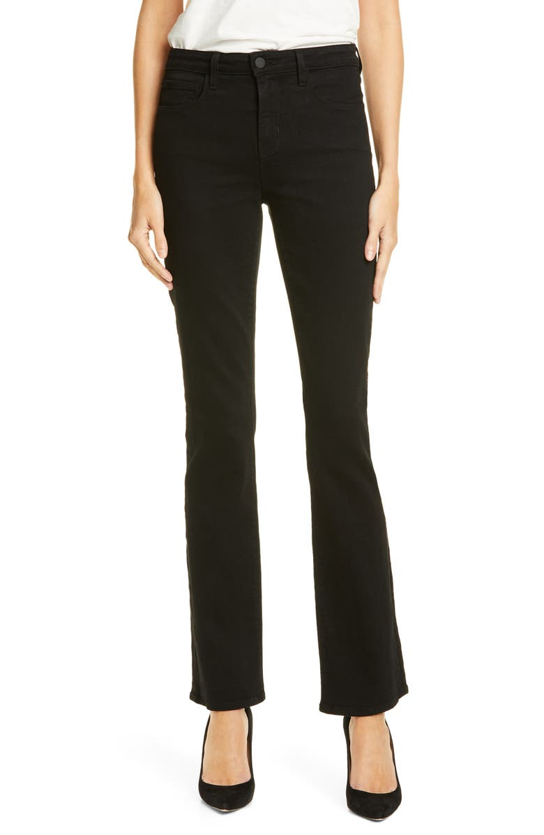 L'AGENCE Oriana Straight Leg Jeans, Main, color, NOIR