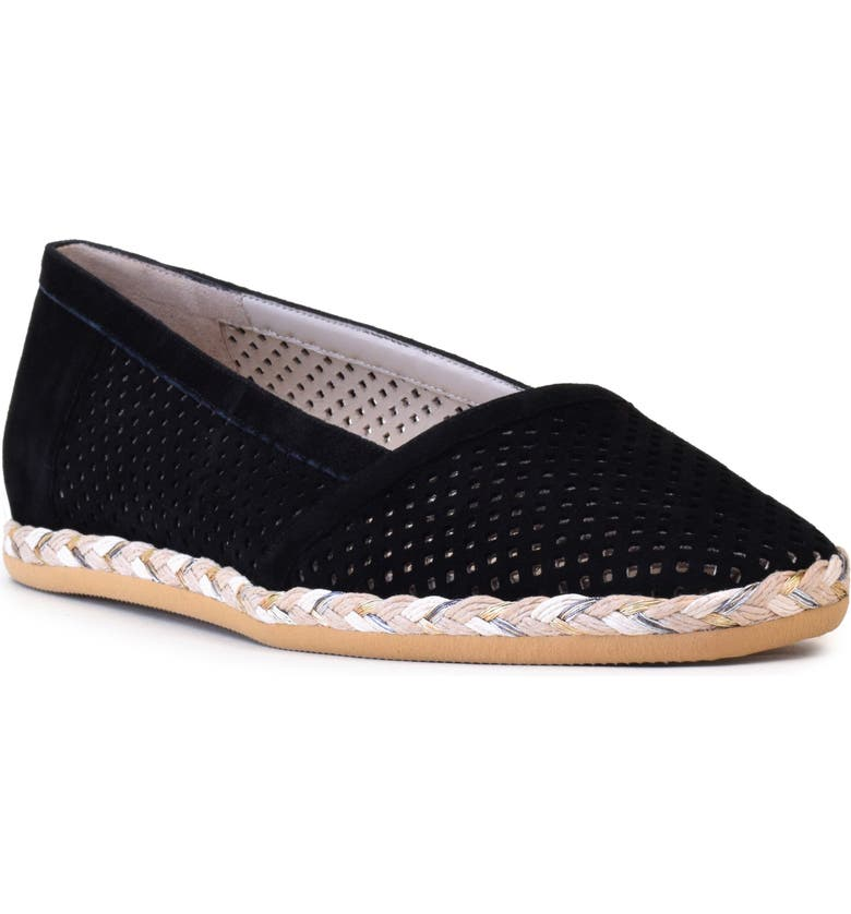 AMALFI BY RANGONI Gastone Perforated Espadrille, Main, color, BLACK SUEDE
