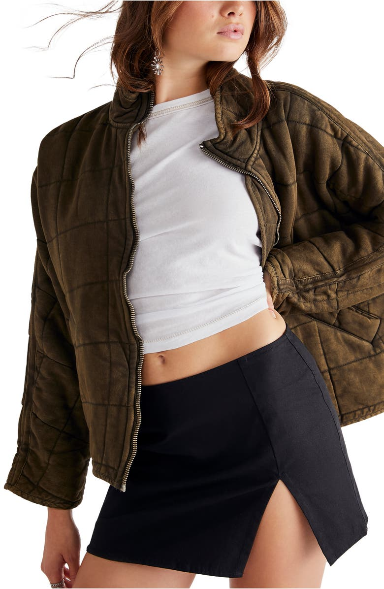 FREE PEOPLE Dolman Sleeve Quilted Jacket, Main, color, DUSTED MILITARY