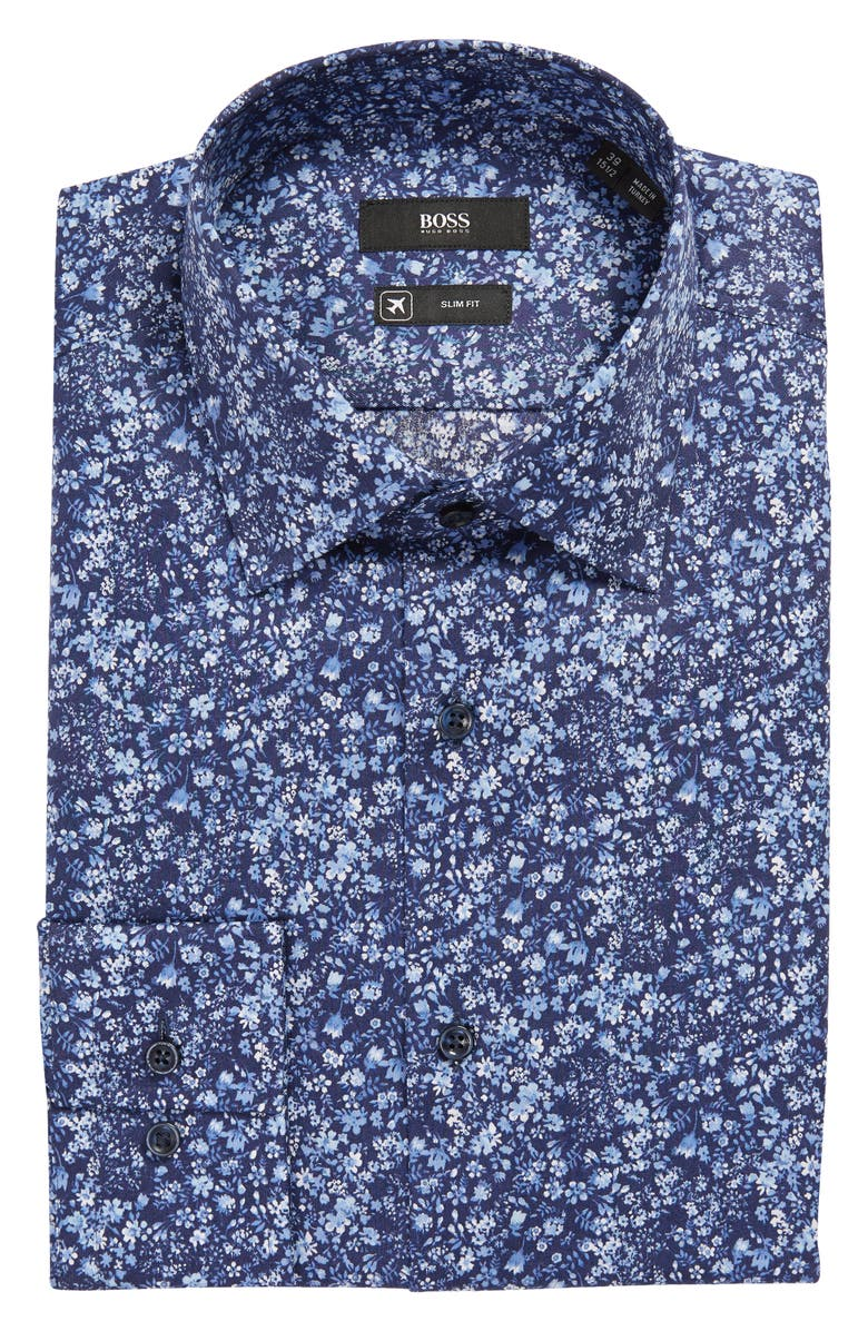 BOSS Jango Slim Fit Floral Print Dress Shirt, Main, color, MEDIUM BLUE