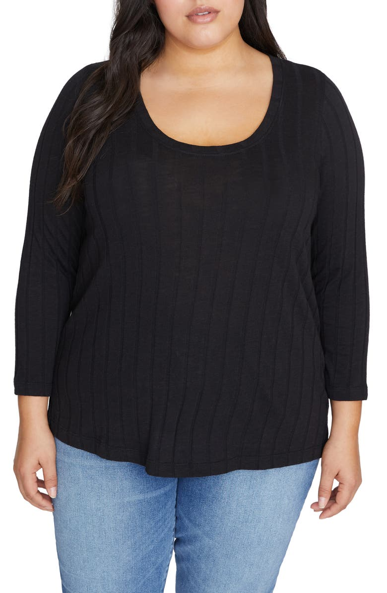 SANCTUARY Ruby Ribbed Knit Top, Main, color, 001