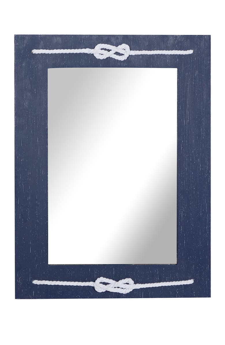 """WILLOW ROW Blue Wood Contemporary Wall Mirror, 31"""" x 23"""" x 2"""", Main, color, BLUE"""