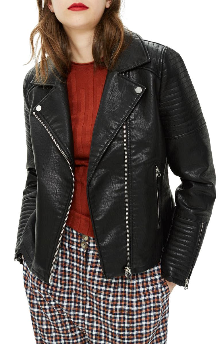 TOPSHOP Rosa Biker Jacket, Main, color, BLACK