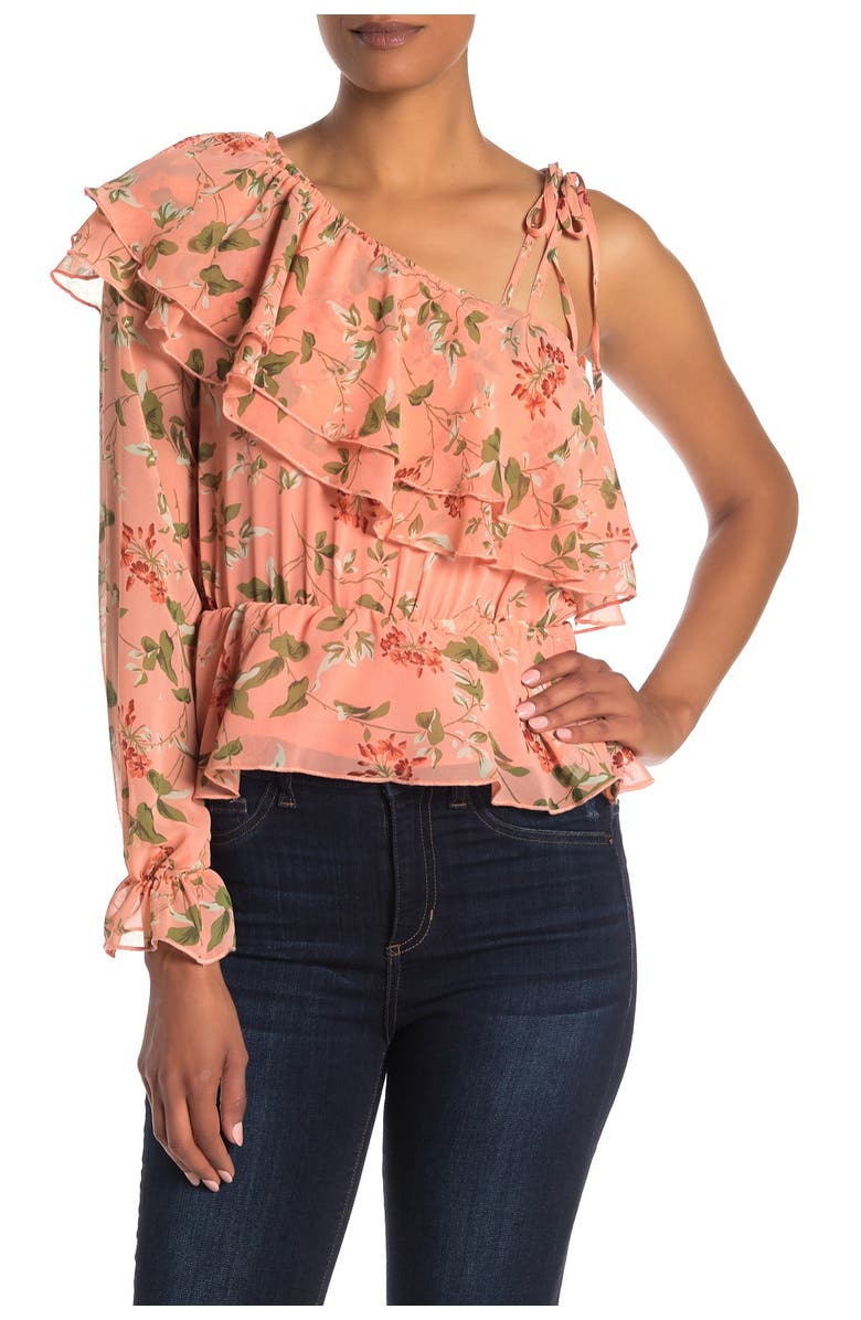 ENDLESS ROSE Floral Ruffled One Sleeve Blouse, Main, color, CORAL PINK VINEDNU