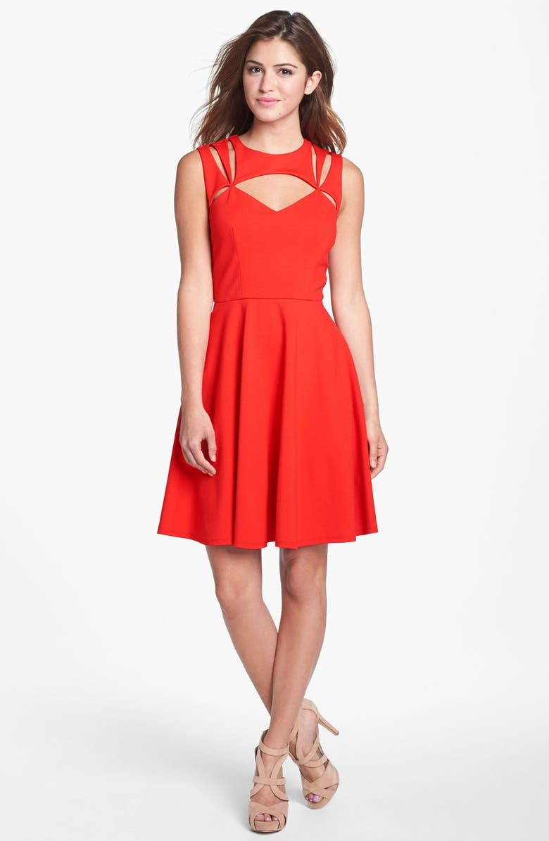 BETSEY JOHNSON Cutout Fit & Flare Dress, Main, color, 636