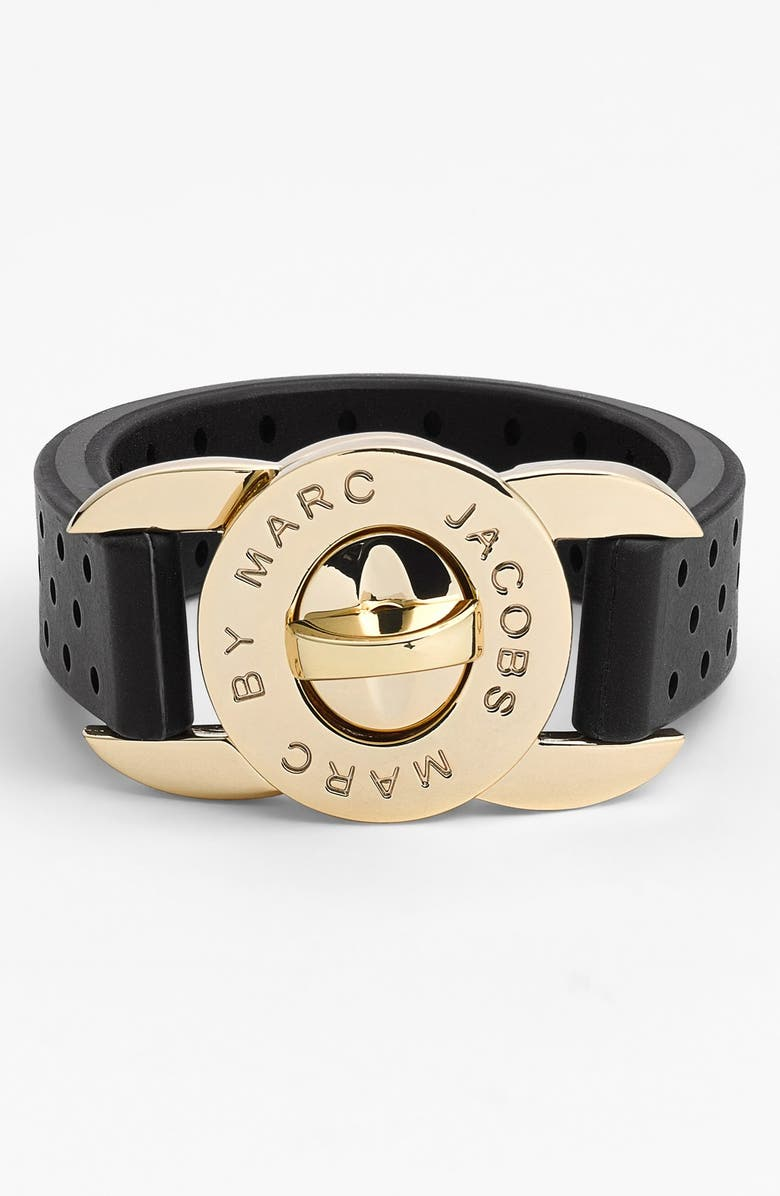 MARC BY MARC JACOBS 'Key Items' Perforated Silicone Bracelet, Main, color, 001