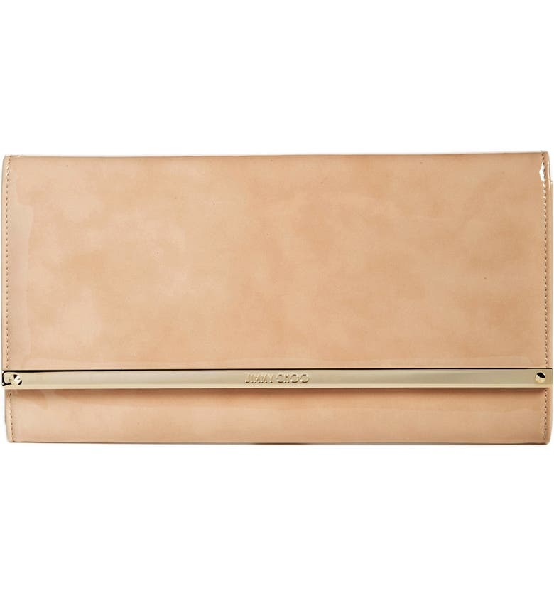 JIMMY CHOO 'Large Maia' Patent Leather Clutch, Main, color, NUDE