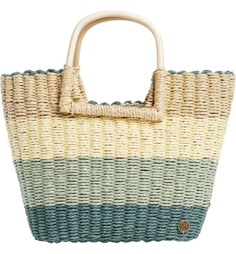 BILLABONG x The Salty Blonde Ride the Waves Straw Tote, Main, color, CLOVER