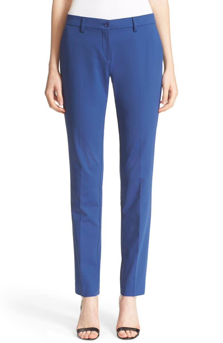 ETRO Stretch Cotton Skinny Pants, Main, color, NAVY