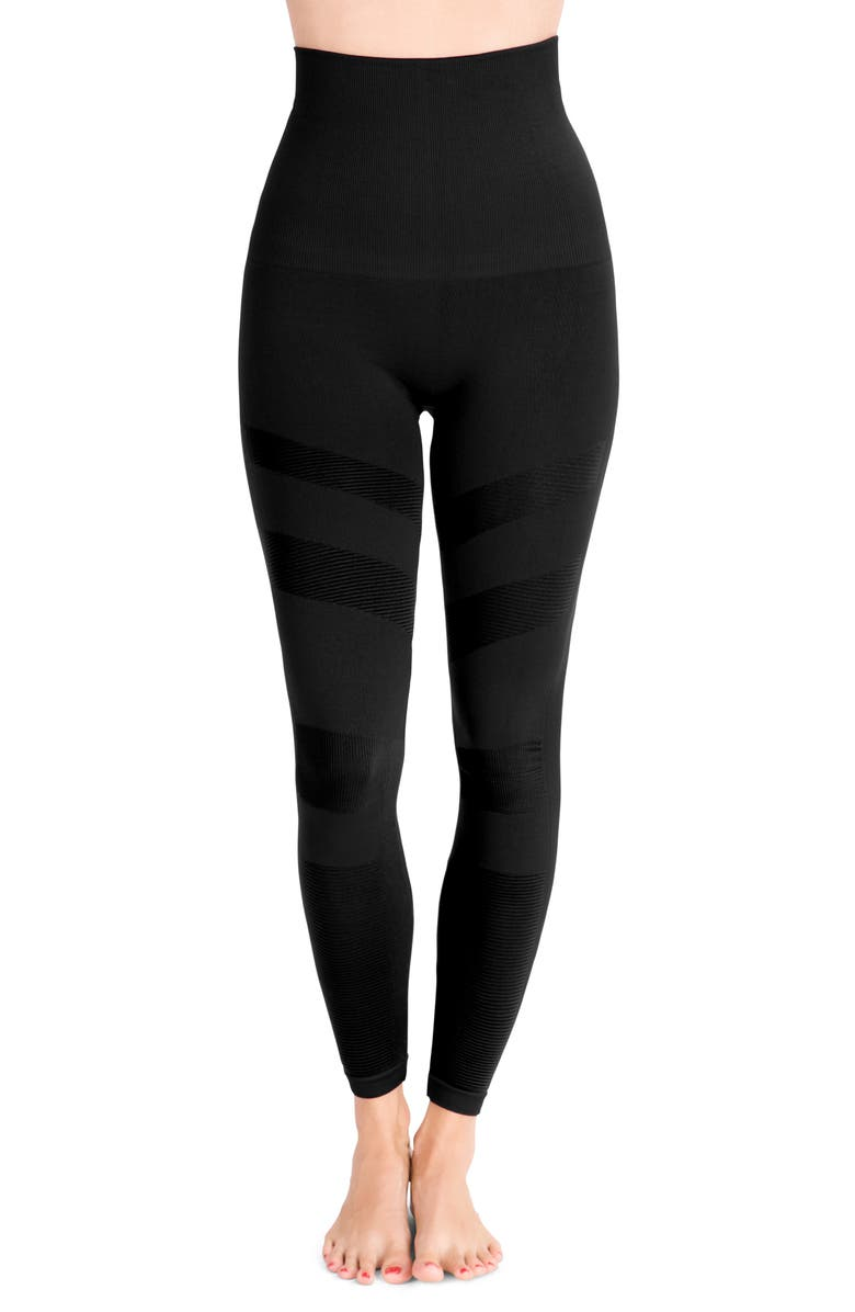 BELLY BANDIT<SUP>®</SUP> Mother Tucker<sup>®</sup> Compression Moto Leggings, Main, color, BLACK