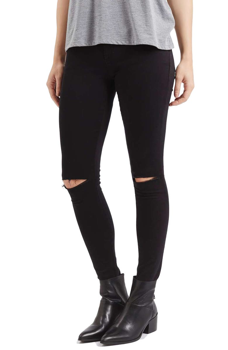 TOPSHOP Moto Leigh Ripped Skinny Jeans, Main, color, 001
