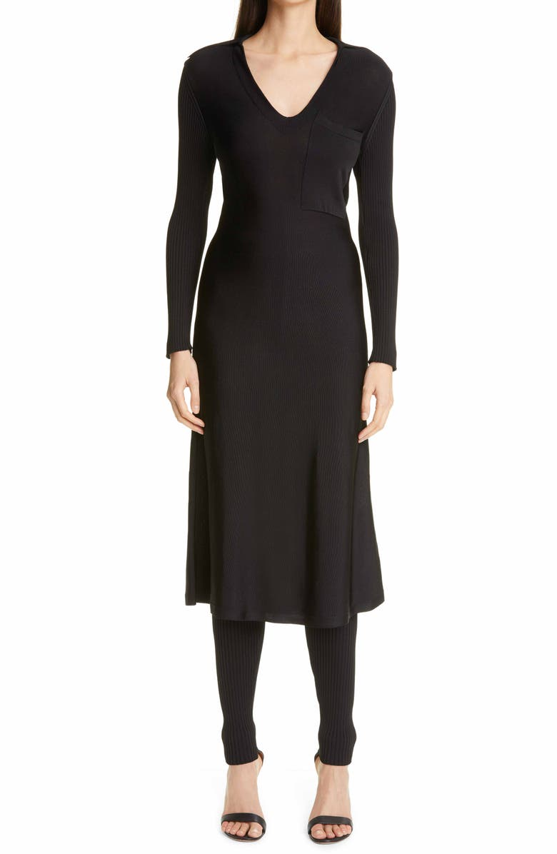 ST. JOHN COLLECTION Long Sleeve Knit Shirtdress, Main, color, BLACK BK00