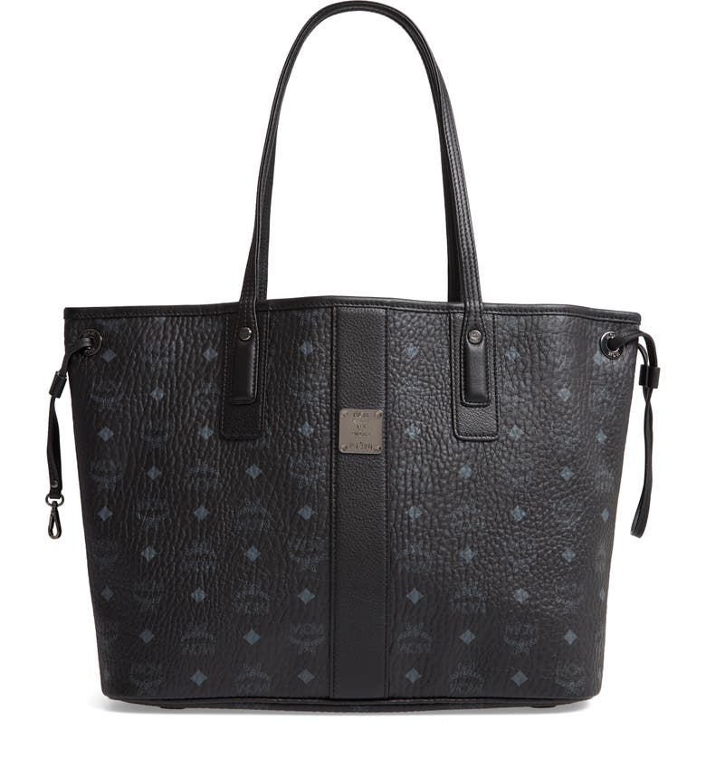 MCM Medium Liz Reversible Shopper, Main, color, JET BLACK