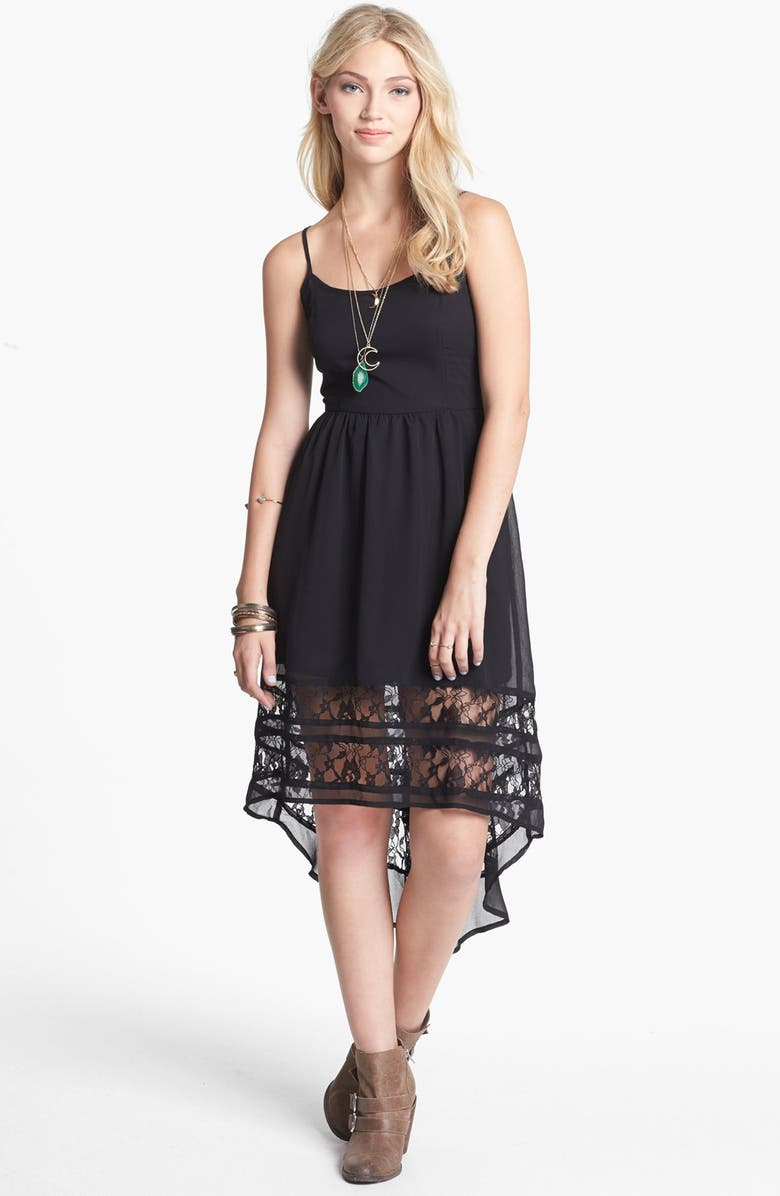 BAND OF GYPSIES Lace Hem High/Low Dress, Main, color, 001
