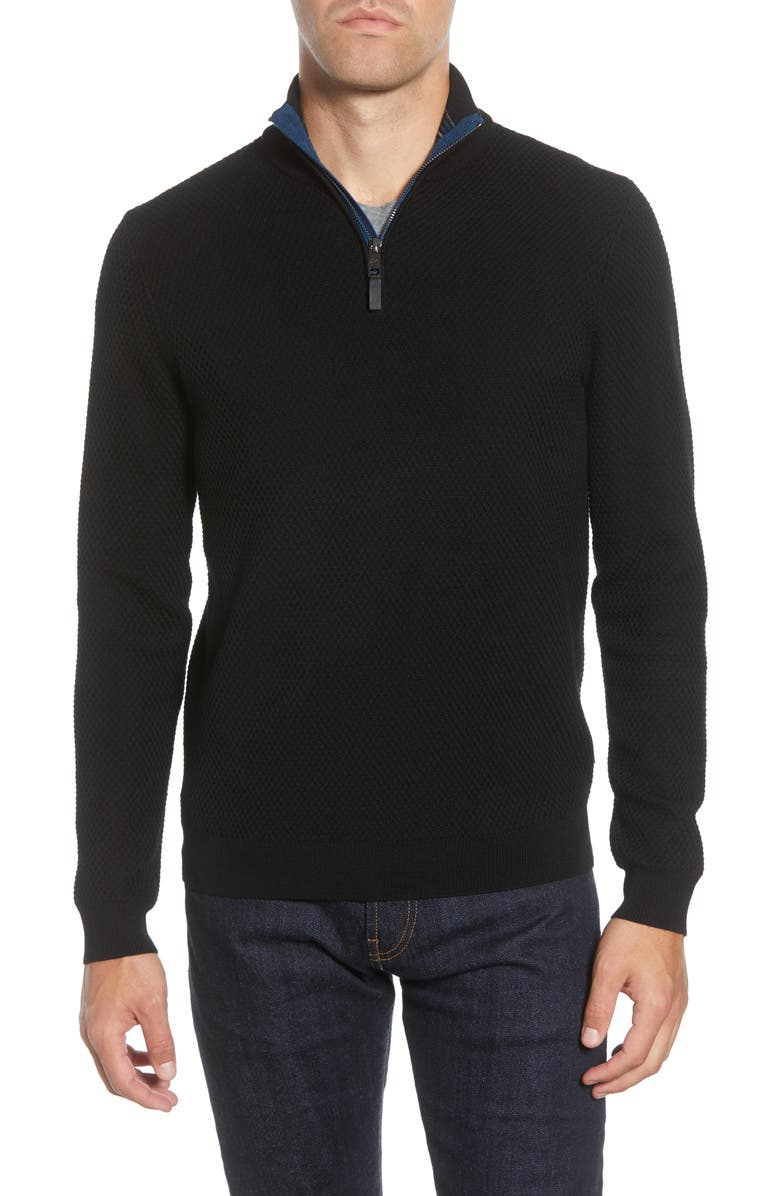 TED BAKER LONDON Tunnel Slim Fit Textured Quarter Zip Sweater, Main, color, 001