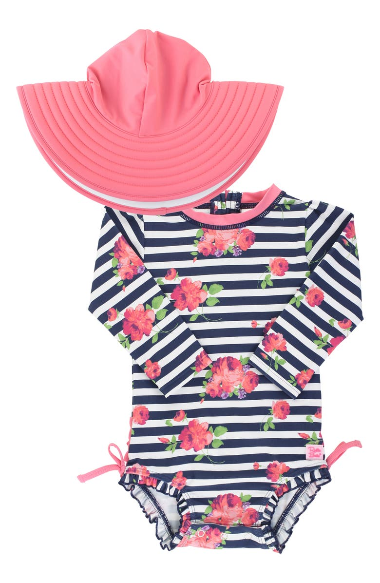 RUFFLEBUTTS Stripe One-Piece Rashguard Swimsuit & Reversible Sun Hat Set, Main, color, 400