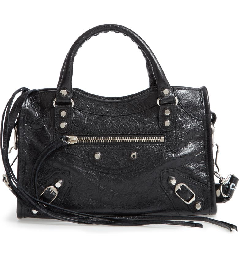 BALENCIAGA Mini Arena City Leather Satchel, Main, color, 011