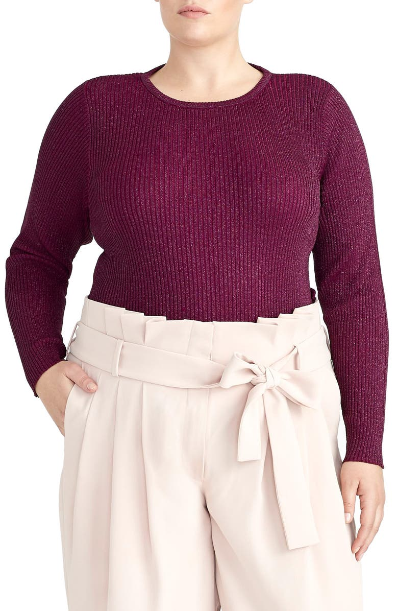 RACHEL ROY COLLECTION Metallic Ribbed Sweater, Main, color, 500
