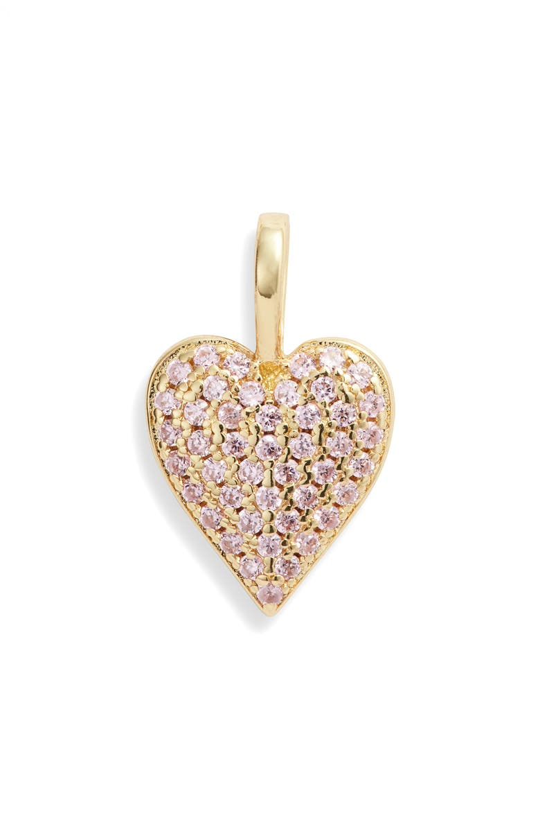 MELINDA MARIA Icons Double Sided Heart Charm, Main, color, GOLD/ PINK
