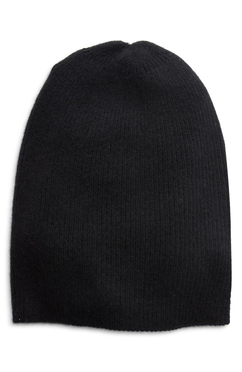 HALOGEN<SUP>®</SUP> Ribbed Cashmere Beanie, Main, color, BLACK