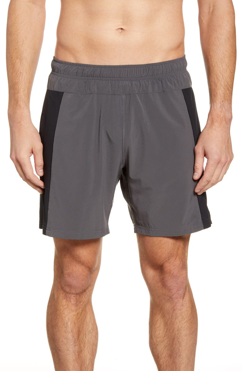 FOURLAPS Bolt 7 Inch Shorts, Main, color, CHARCOAL