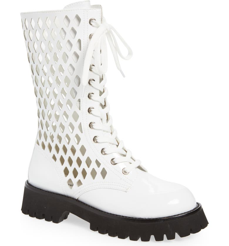 JEFFREY CAMPBELL Demode Boot, Main, color, WHITE CRINKLE PATENT LEATHER