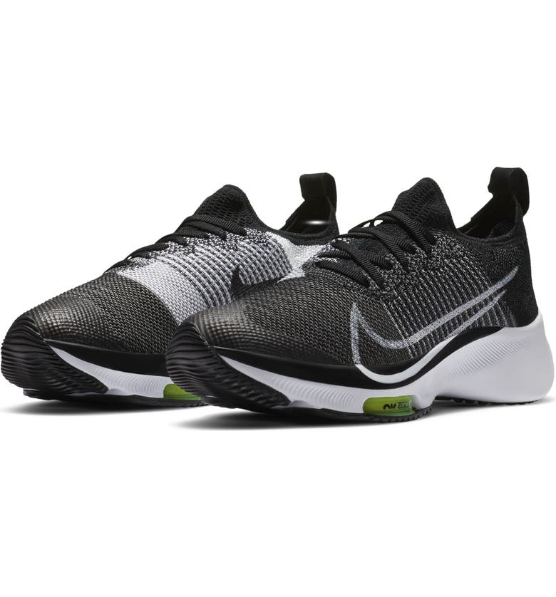 NIKE Air Zoom Tempo Flyknit Running Shoe, Main, color, BLACK/ WHITE/ VOLT