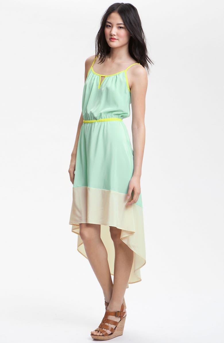 ZZDNU WILLOW & CLAY Willow & Clay Colorblock Asymmetrical Hem Dress, Main, color, SKY