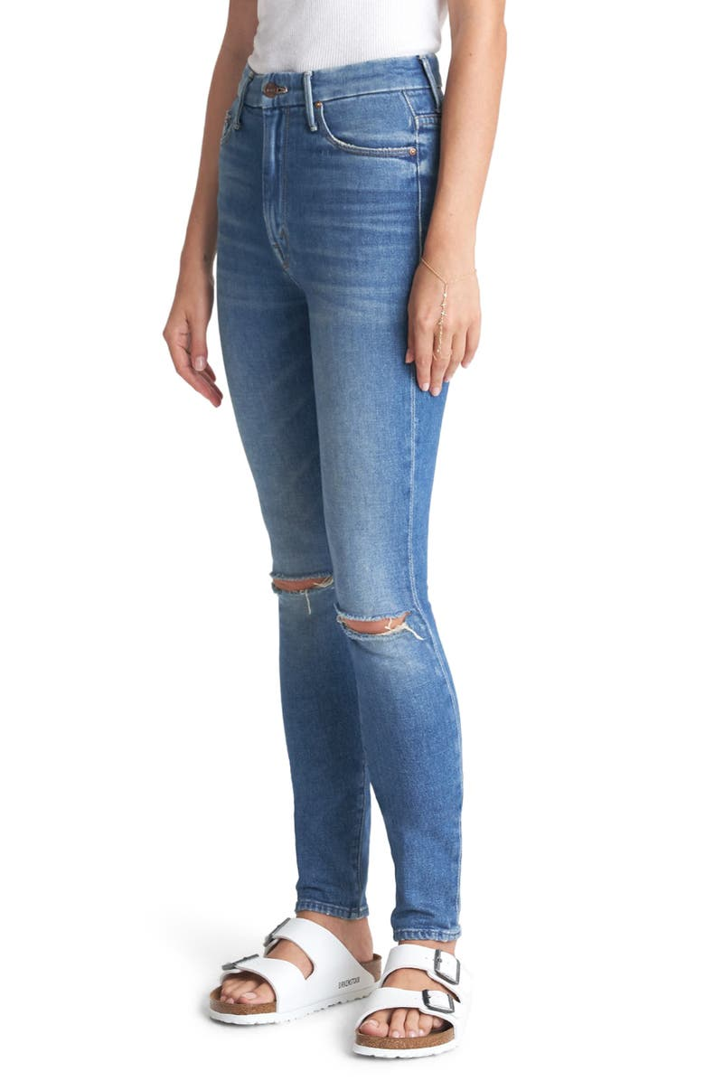 MOTHER The Looker Ripped High Waist Ankle Skinny Jeans, Main, color, 420