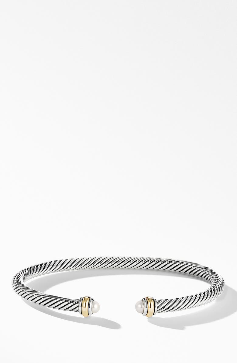 DAVID YURMAN 4mm Cable Classic Bracelet with 18K Gold & Semiprecious Stones, Main, color, SILVER/ PEARL