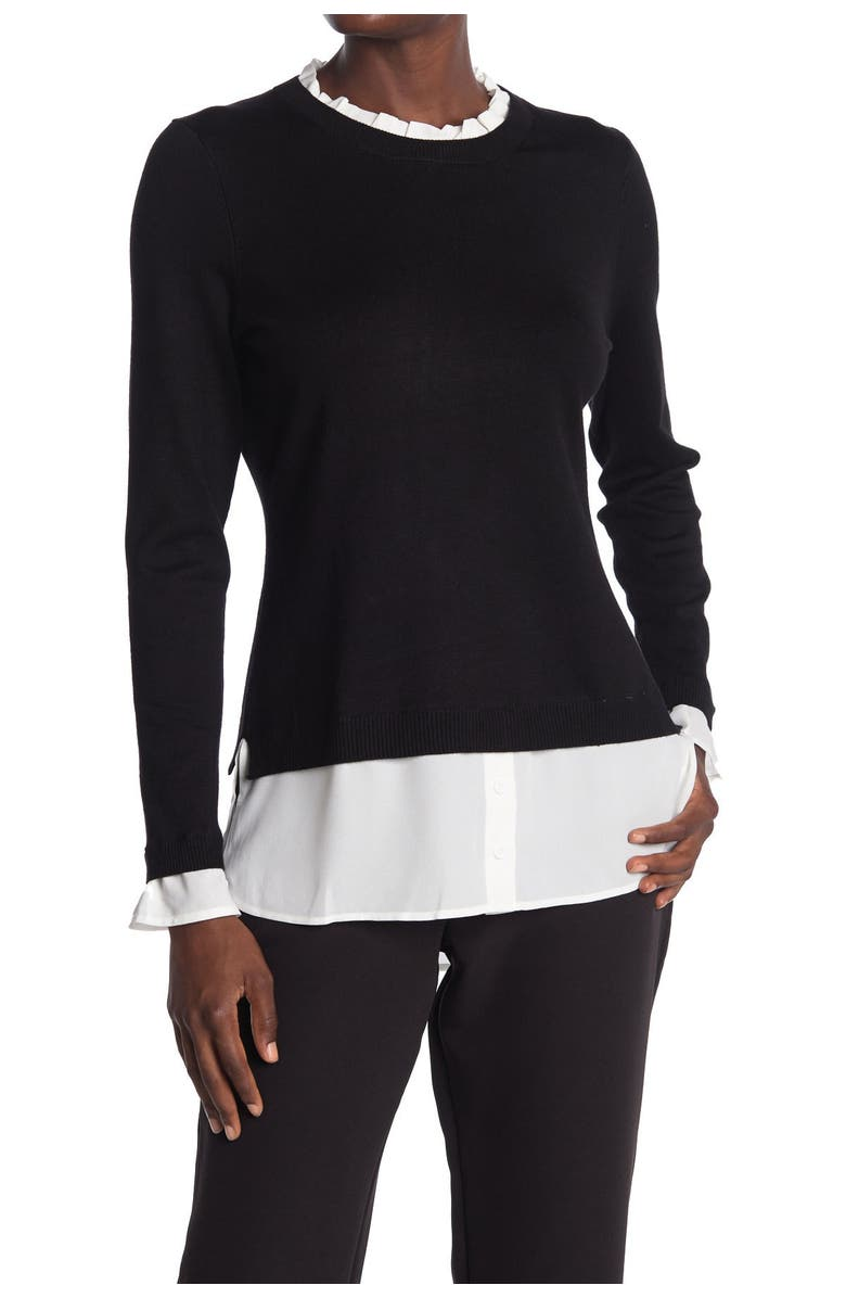 ADRIANNA PAPELL Ruffle Neck Twofer Sweater, Main, color, BLCKIVRY