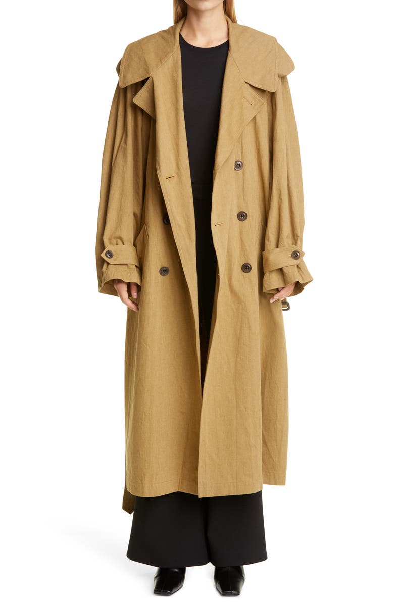 Y'S BY YOHJI YAMAMOTO Oversize Military Trench Coat, Main, color, 250