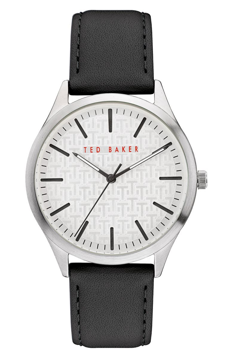 TED BAKER LONDON Manhatt Leather Strap Watch, 40mm, Main, color, 001