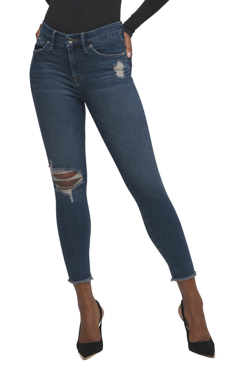 GOOD AMERICAN Good Legs Fray Hem Distressed Crop Skinny Jeans, Main, color, BLUE521