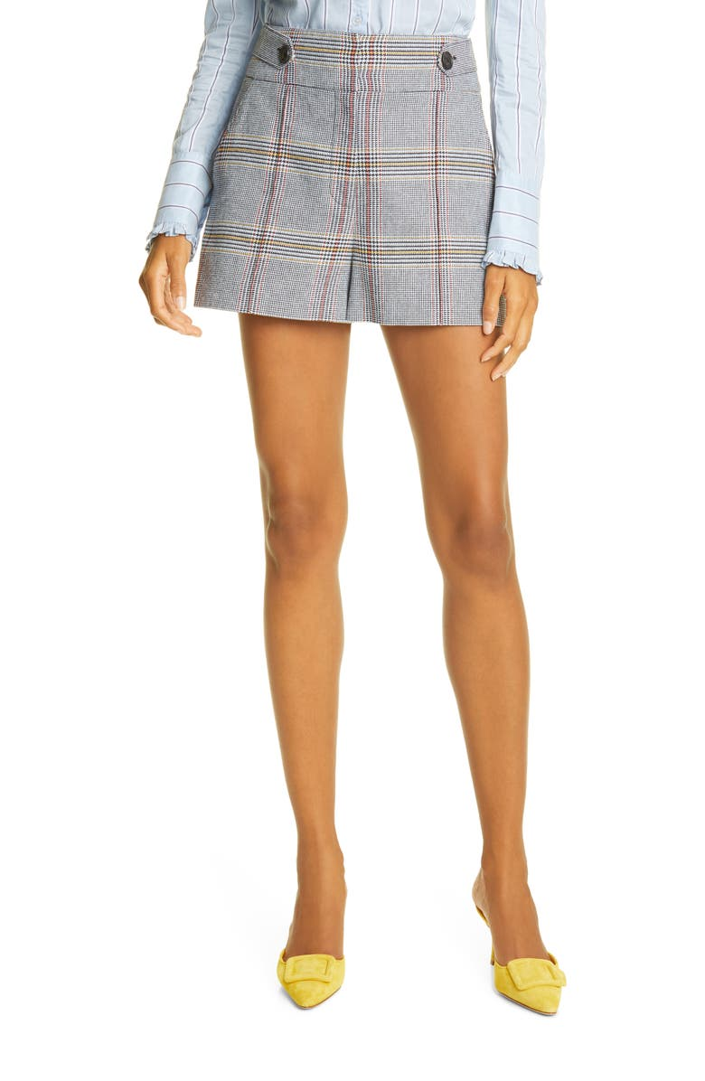 VERONICA BEARD Betty Plaid Cotton Blend Shorts, Main, color, 461