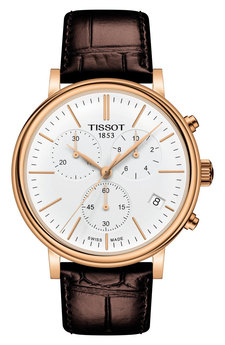 TISSOT Carson Premium Chronograph Leather Strap Watch, 41mm, Main, color, BROWN/ WHITE/ ROSE GOLD