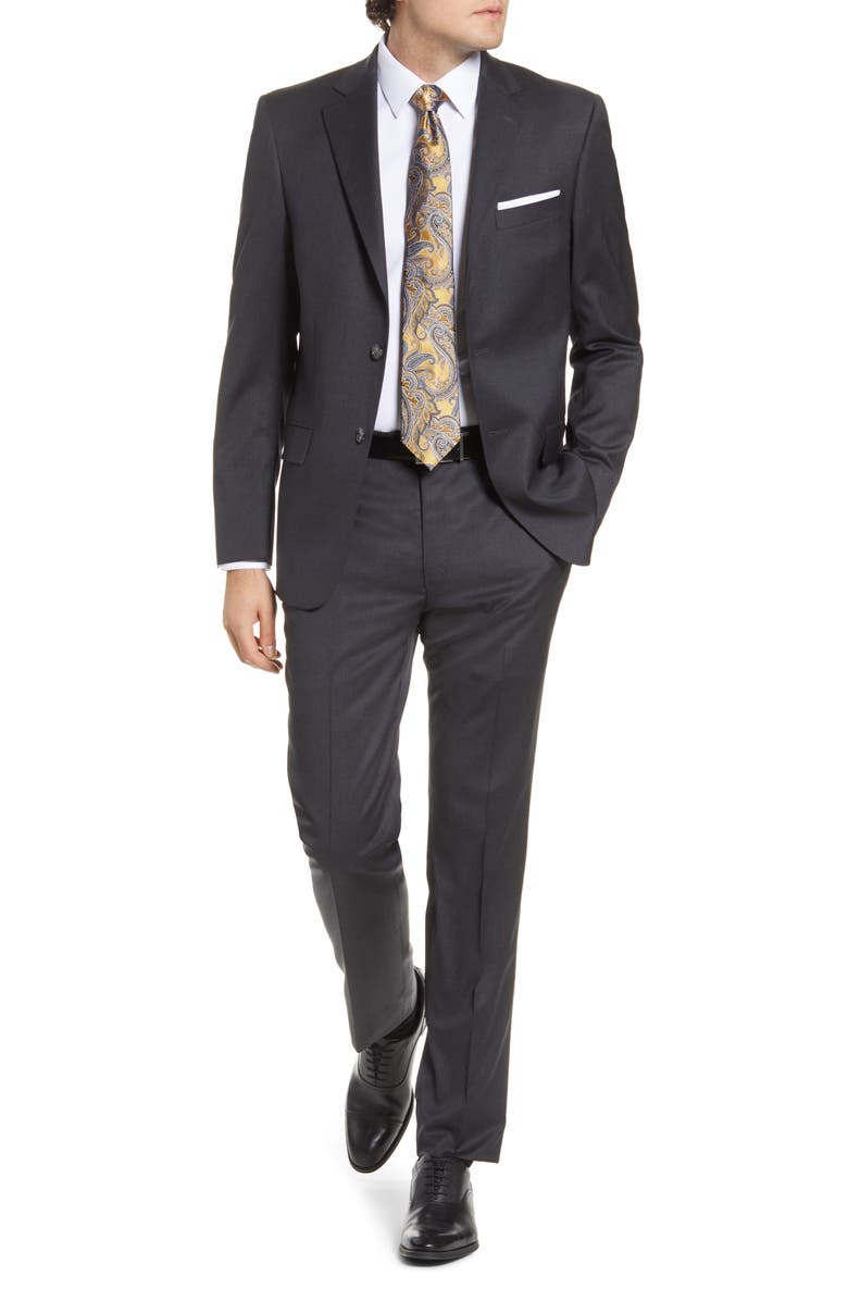 HART SCHAFFNER MARX New York Classic Fit Solid Stretch Wool Suit, Main, color, CHARCOAL