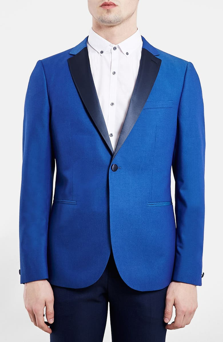 TOPMAN Blue Skinny Fit Tuxedo Jacket, Main, color, 400