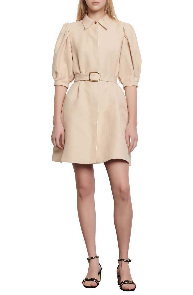 SANDRO Luno Puff Sleeve Shirtdress, Main, color, 250