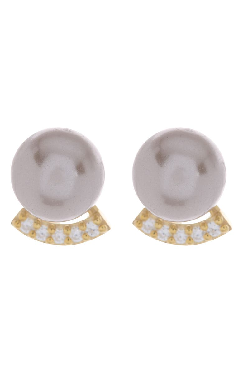 PAIGE NOVICK 14K Yellow Gold Vermeil Pearl & White CZ Pave Stud Earrings, Main, color, 14K YG PLATED SILVER