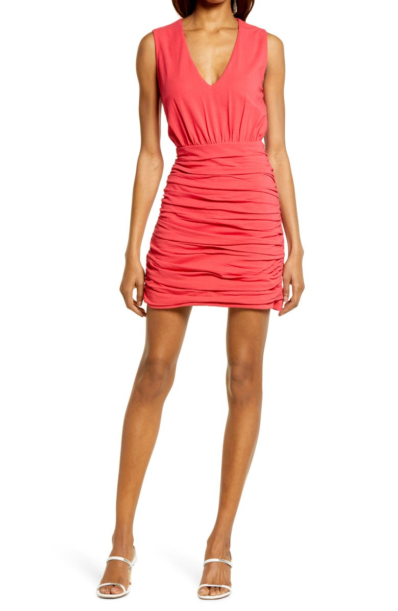 CHELSEA28 Ruched Minidress, Main, color, RED SAUCY