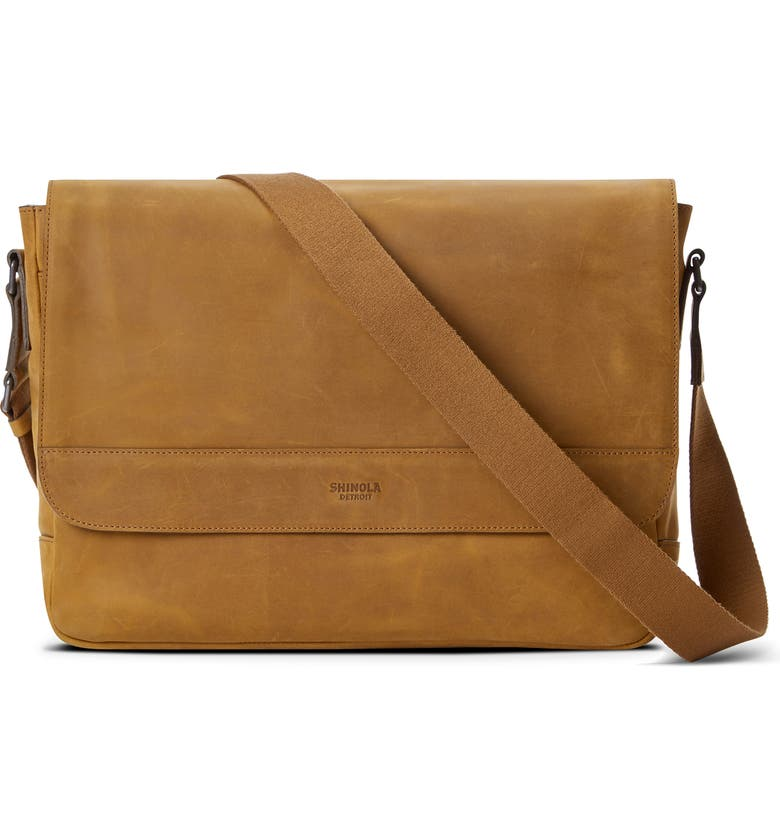 SHINOLA Slim Leather Messenger Bag, Main, color, HONEY
