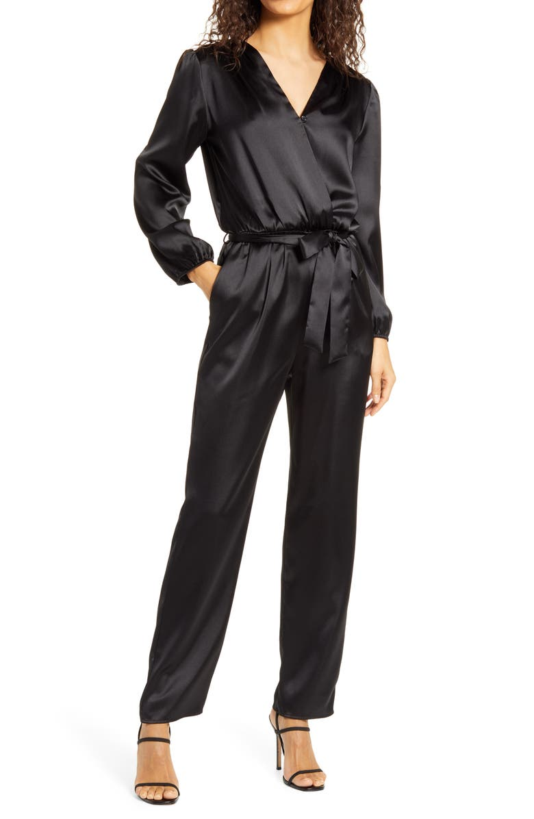 FRAICHE BY J Wrap Jumpsuit, Main, color, BLACK