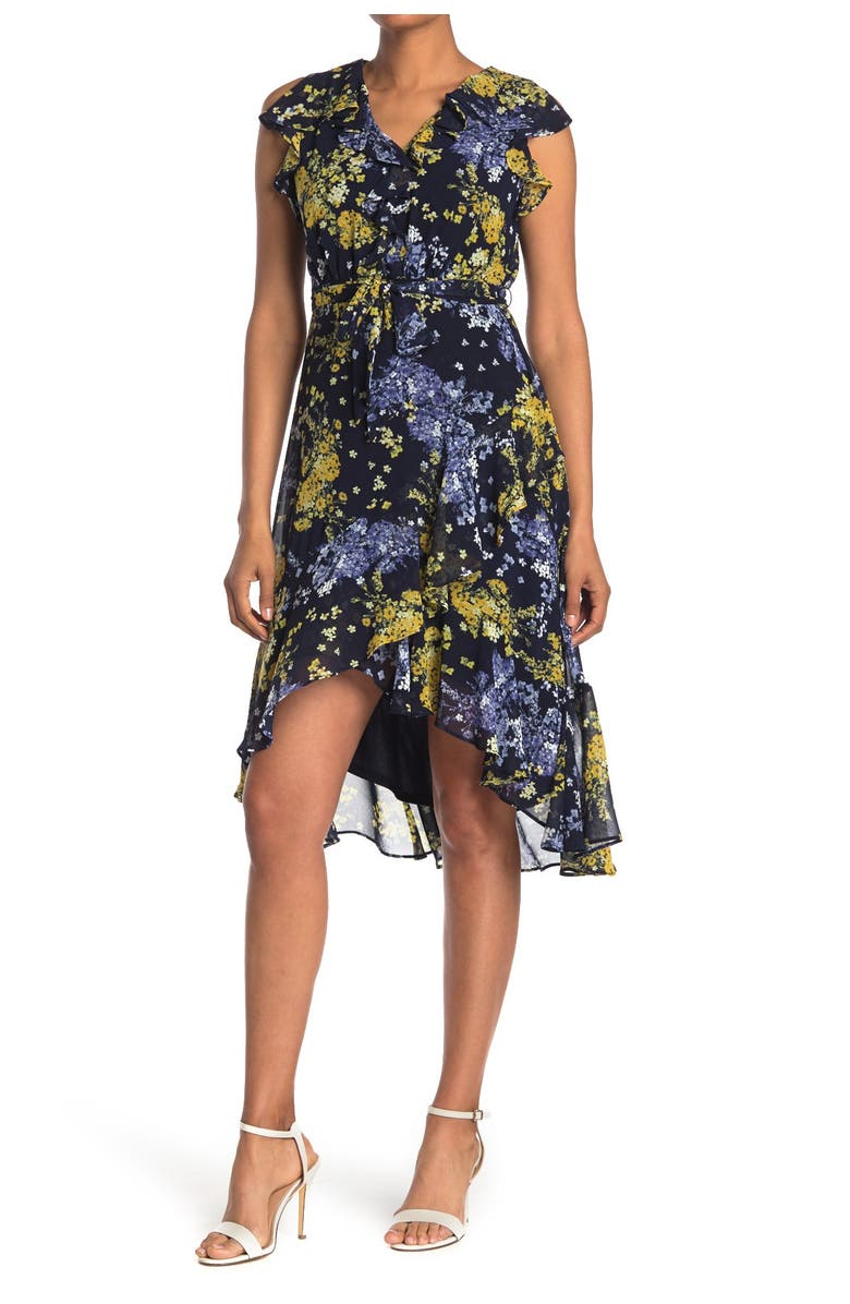 TAYLOR DRESSES Printed V-Neck Midi Dress, Main, color, NAVY LUXE YELLOW