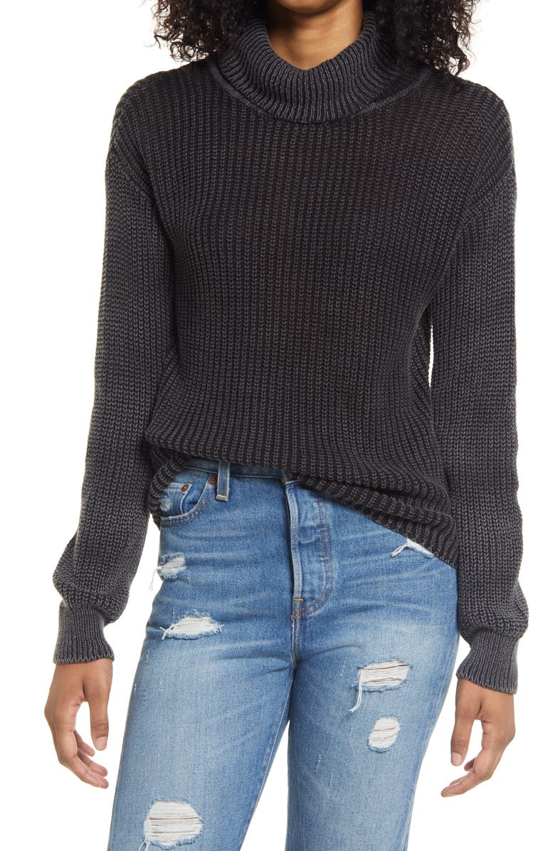 TEN SIXTY SHERMAN Washed Mock Neck Sweater, Main, color, BLACK ACID WASH