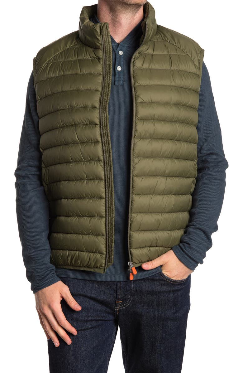 SAVE THE DUCK Water & Wind Resistant Puffer Vest, Main, color, DUSTY OLIVE