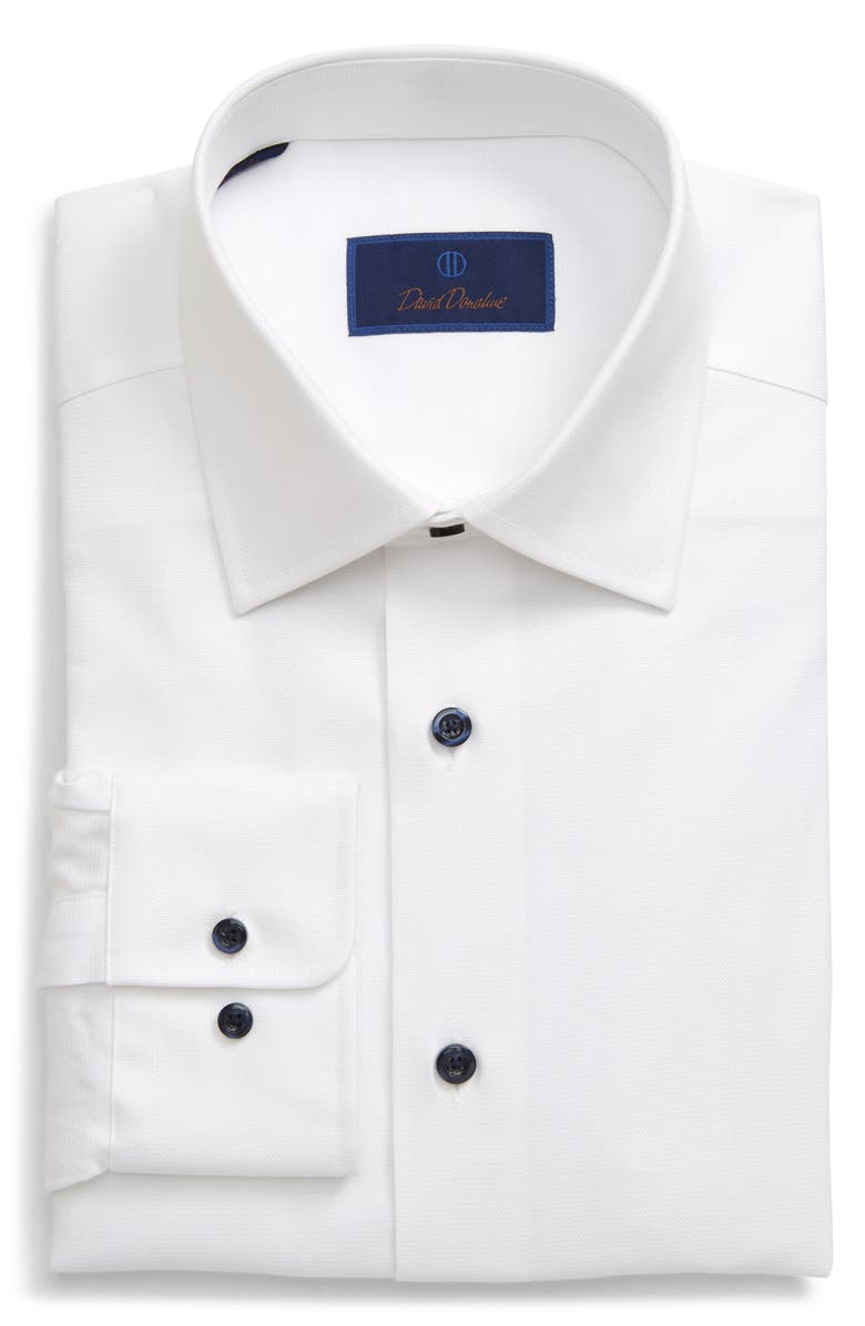 DAVID DONAHUE Regular Fit Cotton Dress Shirt, Main, color, WHITE