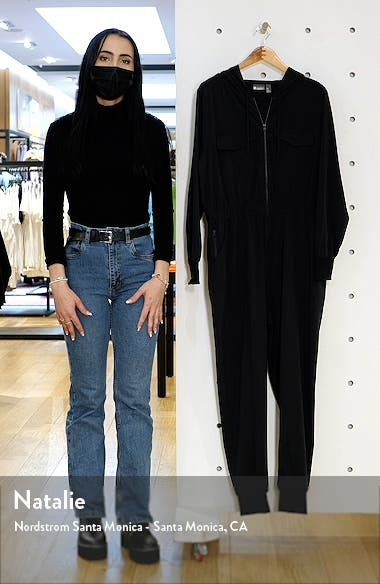 Getaway Long Sleeve Stretch Woven Jumpsuit, sales video thumbnail