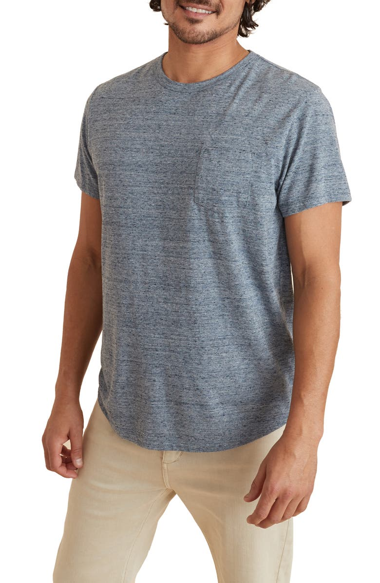 MARINE LAYER Re-Spun Saddle Hem Pocket T-Shirt, Main, color, HEATHER BLUE NEPS CORE